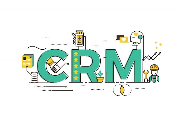Crm: kundenbeziehungsmanagementwort, das typografiedesignillustration beschriftet Premium Vektoren