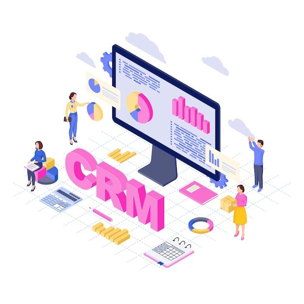 Crm-software, plattform isometrisch. analyse und speicherung von kundendaten. 3d-konzept des kundenbeziehungsmanagementdienstes. business automation vertrieb, analysten für marketingstatistiken Premium Vektoren