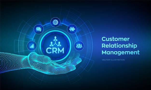 Crm-symbol in roboterhand. kundenbeziehungsmanagement. kundenservice und beziehungskonzept auf virtuellem bildschirm. Premium Vektoren