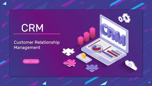 Crm-system-banner Premium Vektoren