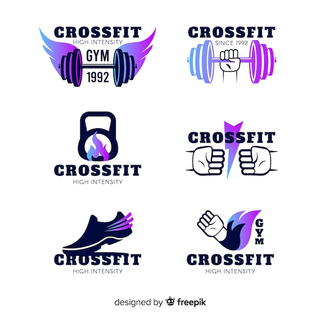 Crossfit logo vorlagen farbverlaufssammlung Kostenlosen Vektoren