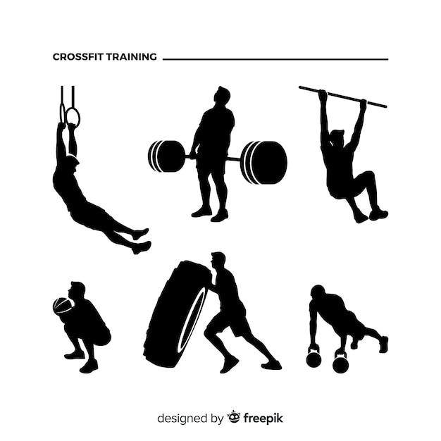 Crossfit man training silhouette sammlung Kostenlosen Vektoren