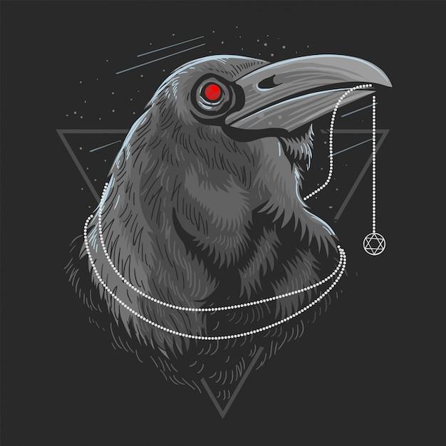 Crow vogel raven artwork vektor Premium Vektoren