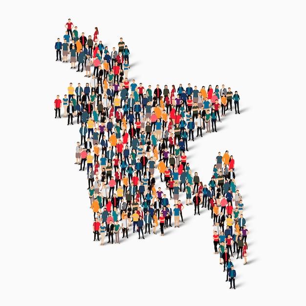 Crowd people group, die eine karte von bangladesch bildet. Premium Vektoren