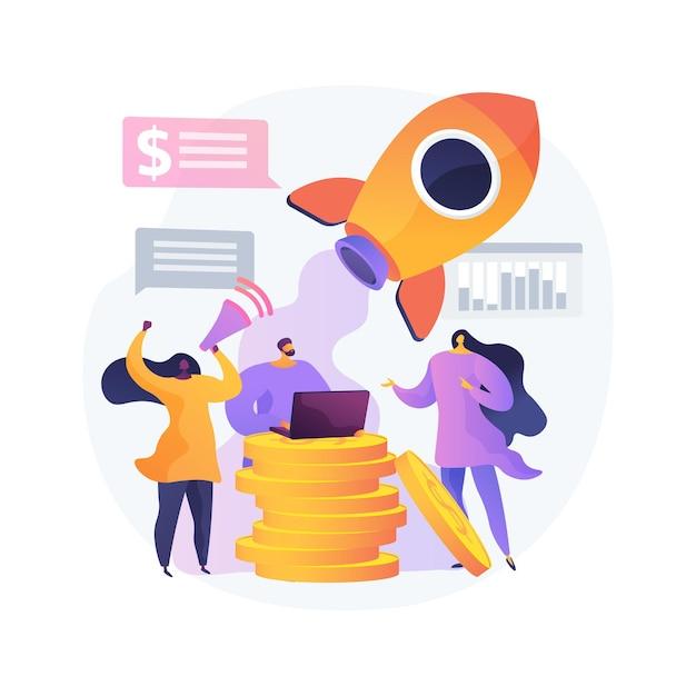 Crowdfunding abstrakte konzeptvektorillustration. crowdsourcing-projekt, alternative finanzierung, geldbeschaffung im internet, spendenplattform, spenden sammeln, abstrakte metapher für geschäftsunternehmen. Kostenlosen Vektoren
