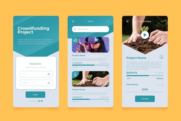 Crowdfunding-app-bildschirme Kostenlosen Vektoren