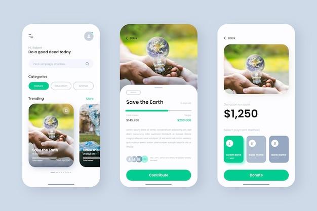 Crowdfunding-app-vorlage Kostenlosen Vektoren