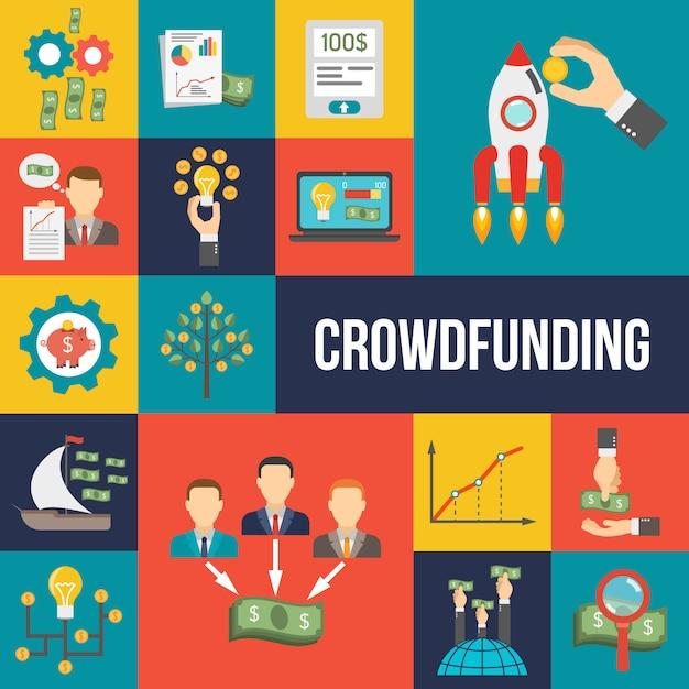 Crowdfunding flat set Premium Vektoren