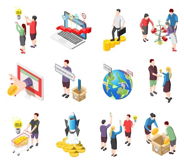 Crowdfunding-isometrische ikonen und charaktere eingestellt Kostenlosen Vektoren