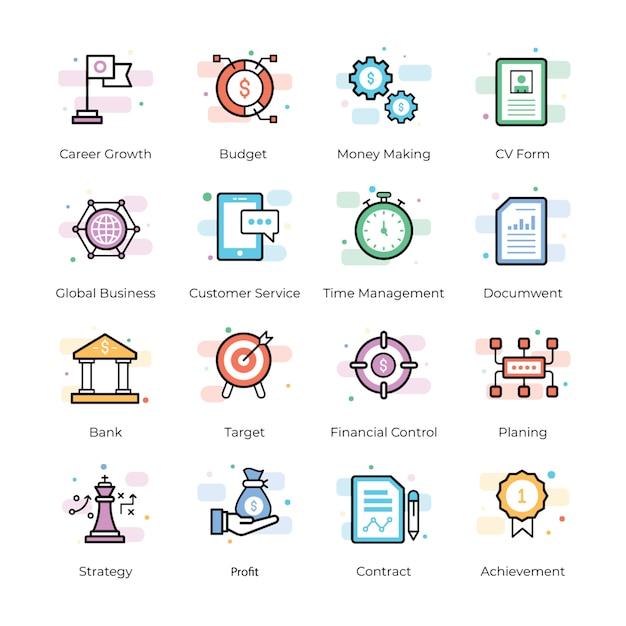 Crowdfunding und business icons Premium Vektoren