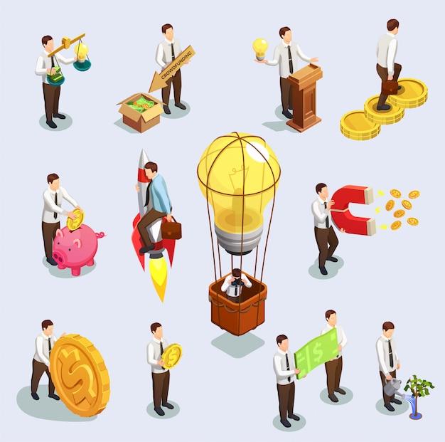Crowdfunding-zeichen festgelegt Kostenlosen Vektoren