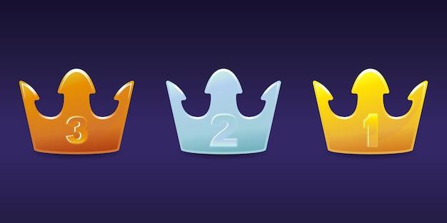 Crown level emblem bronze, silber, gold set premium Premium Vektoren