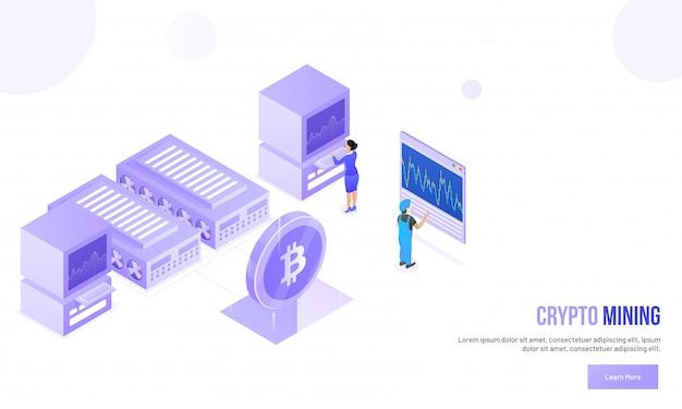 Crypto mining-konzept. Premium Vektoren