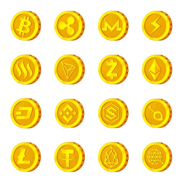 Cryptocurrency-karikaturikonensatz, krypto-bitcoin. Premium Vektoren