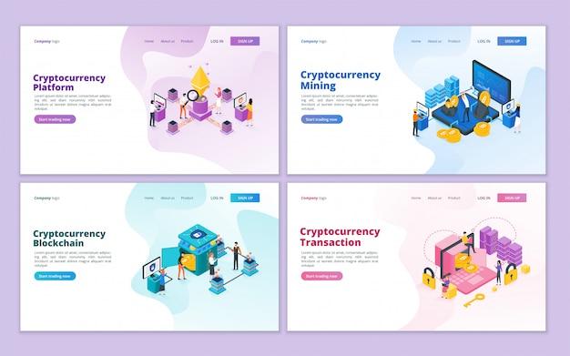 Cryptocurrency landing page collection-vorlage Premium Vektoren