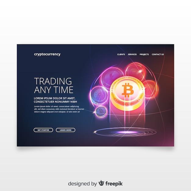 Cryptocurrency landing page Kostenlosen Vektoren