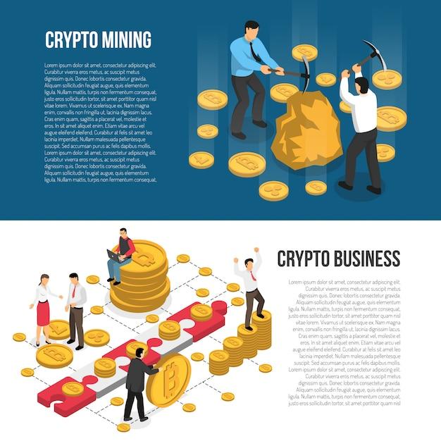 Cryptocurrency mining business isometric banners Kostenlosen Vektoren