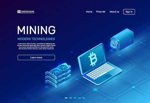 Cryptocurrency mining-indexseite Premium Vektoren