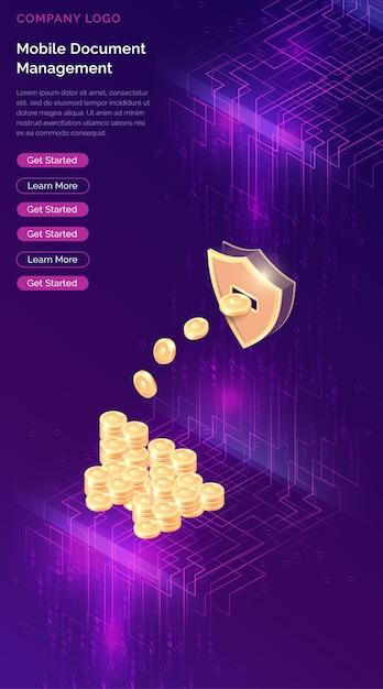 Cryptocurrency mining isometrisch Kostenlosen Vektoren