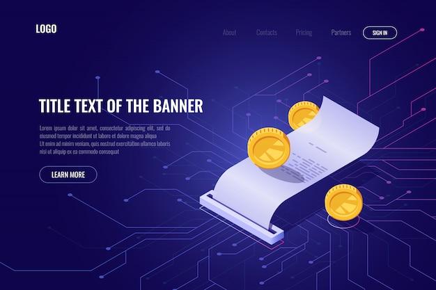 Cryptocurrency-mining- und zahlungskonzept, ico-isometrische banner, webseite mit blockchain-technologie Kostenlosen Vektoren