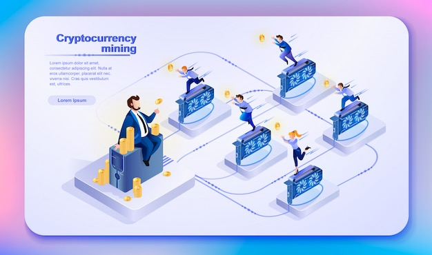 Cryptocurrency mining. vektor-illustration. Premium Vektoren