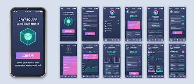 Cryptocurrency mobile app pack mit ui-, ux- und gui-bildschirmen für anwendungen Premium Vektoren