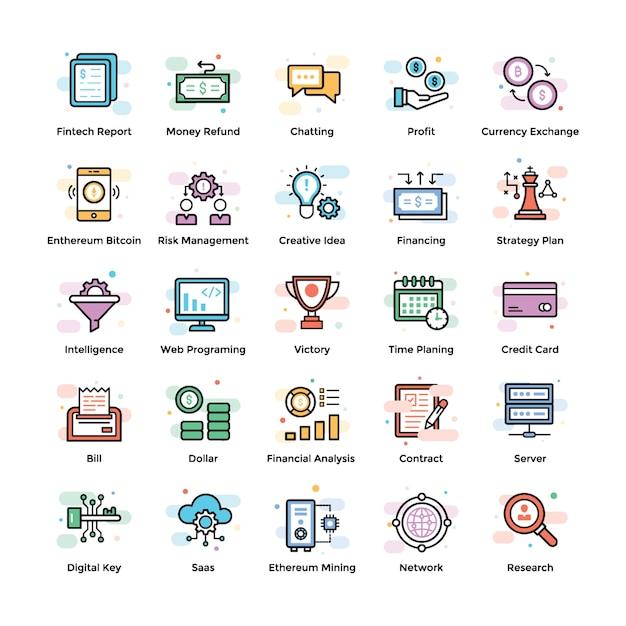 Cryptocurrency und blockchain icons Premium Vektoren