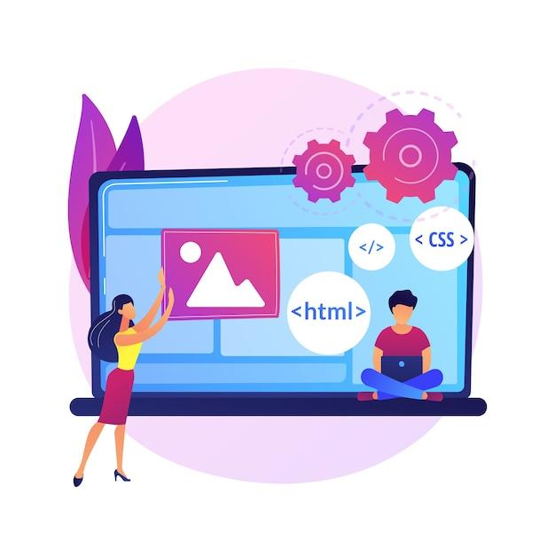 Css- und html-programmiersprachen. computerprogrammierung, codierung, it. weibliche programmierer-zeichentrickfigur. software, website-entwicklung. Kostenlosen Vektoren