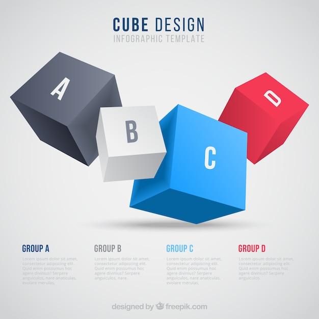 Cubes infografik Kostenlosen Vektoren