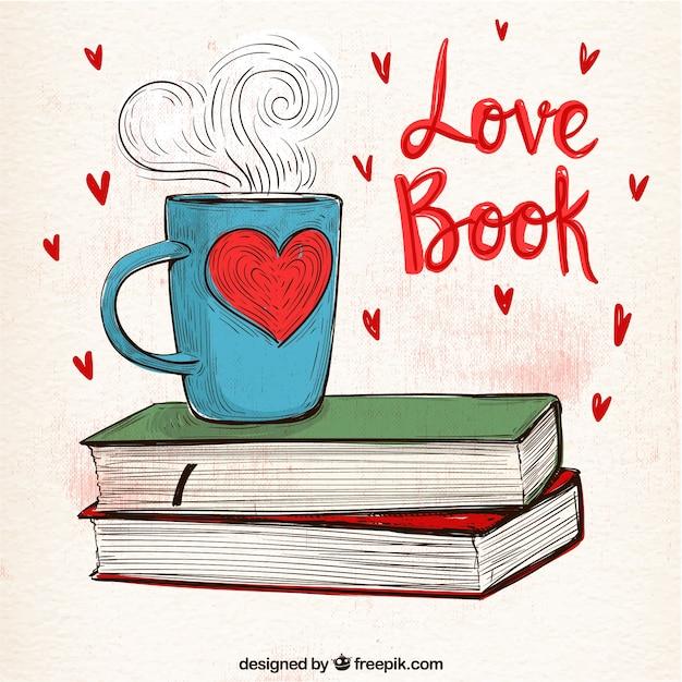 Cup Hintergrund mit Hand gezeichneten Bücher Kostenlose Vektoren