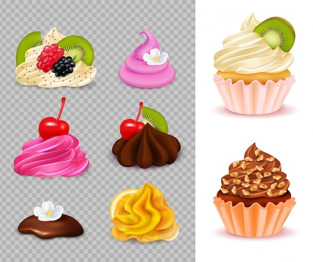 Cupcake-konstrukteur mit verschiedenen appetitlichen belägen auf transparenten und 2 fertigen desserts realistisch Kostenlosen Vektoren