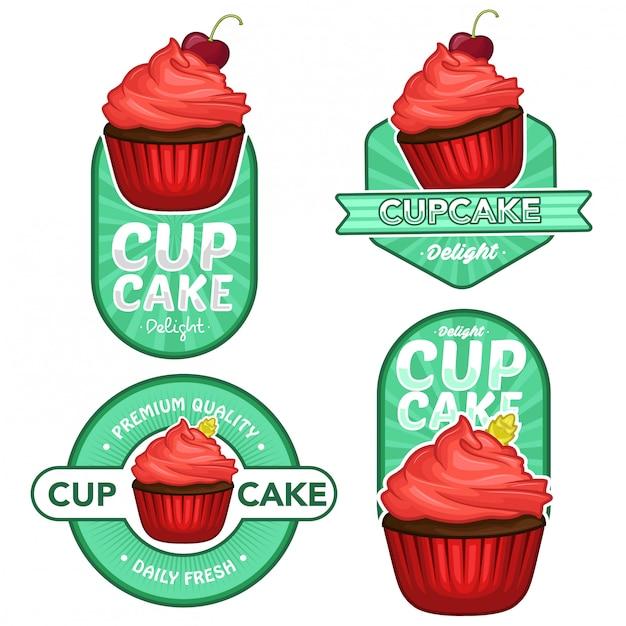 Cupcake logo lager vektor festgelegt Premium Vektoren