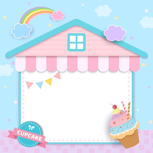 Cupcake mit hausrahmen für menüvorlage Premium Vektoren