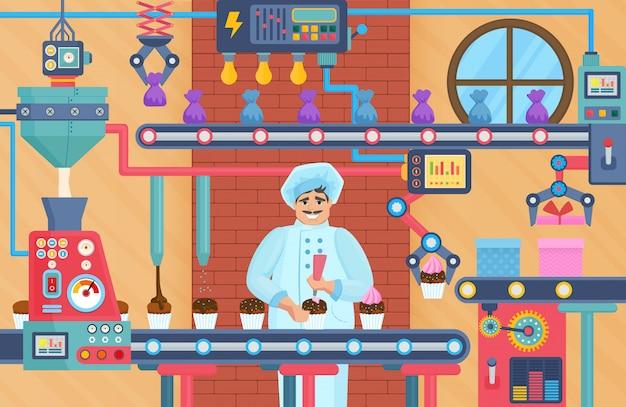 Cupcake-süßwarenfabrik mit konditor Premium Vektoren