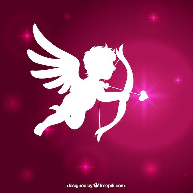 Cupid silhouette mit glänzenden rosa hintergrund Kostenlosen Vektoren