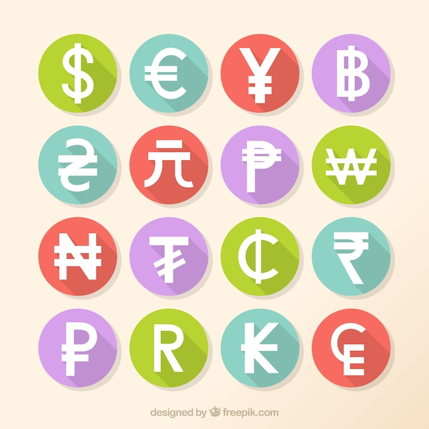 Currenties symbole packung Kostenlosen Vektoren