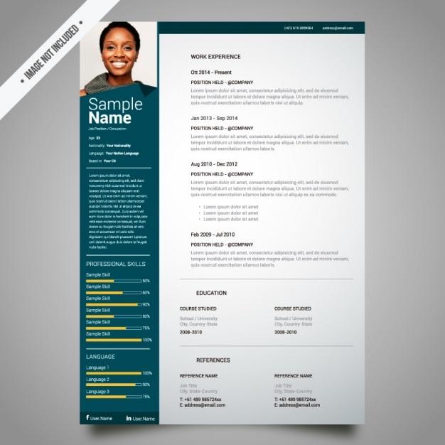 Curriculum template-design Kostenlosen Vektoren
