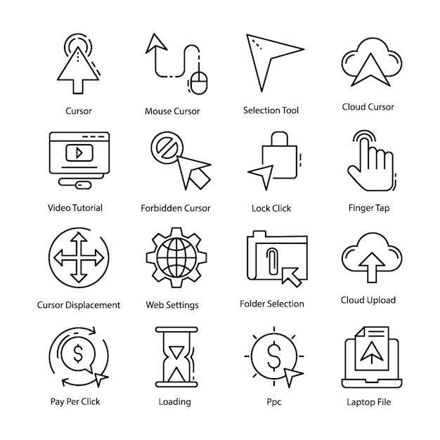 Cursor icons pack Premium Vektoren