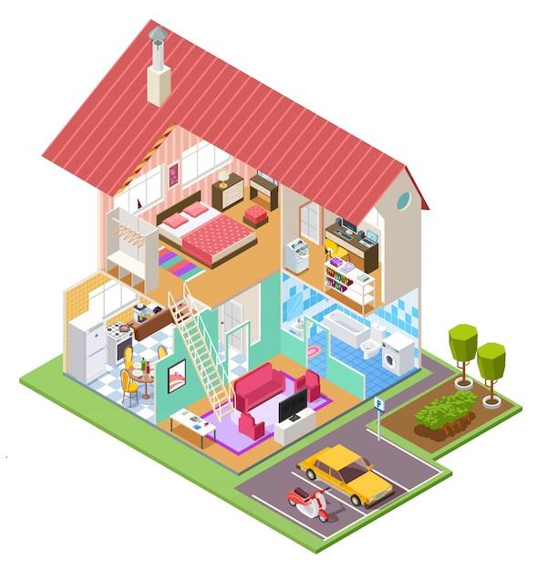 Cutaway haus. wohnbau querschnitt mit küche schlafzimmer bad interieur. haus drinnen Premium Vektoren