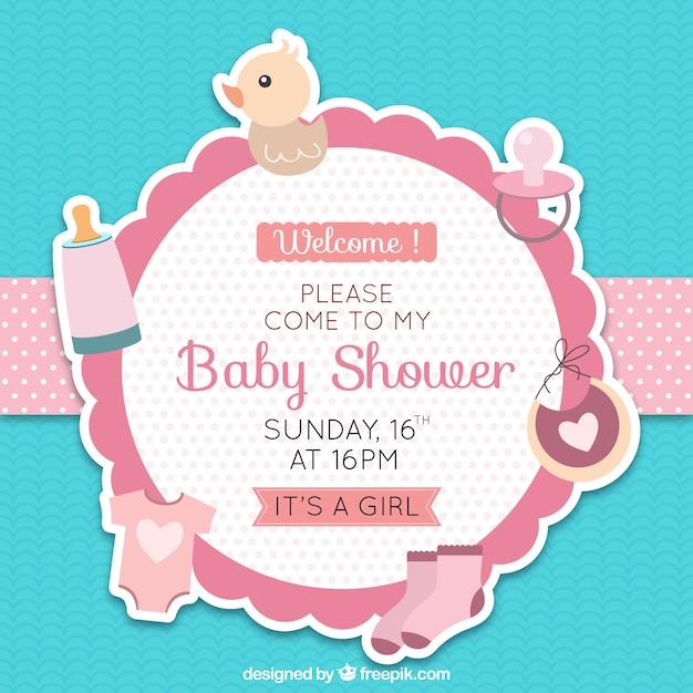 Cute baby dusche abzeichen Kostenlosen Vektoren