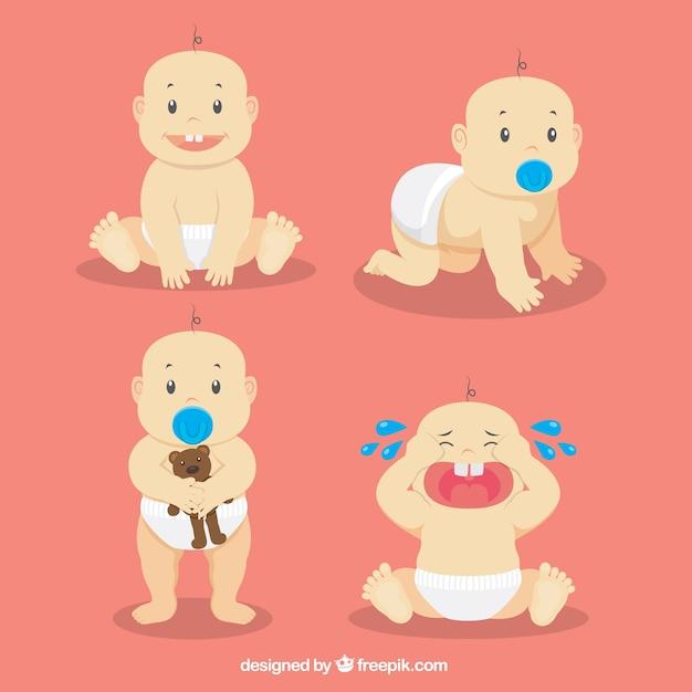 Cute baby in verschiedenen momenten Kostenlosen Vektoren