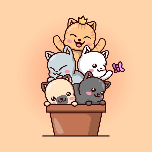 Cute batch baby cats in einer braunen vase kawaii illustration. Premium Vektoren