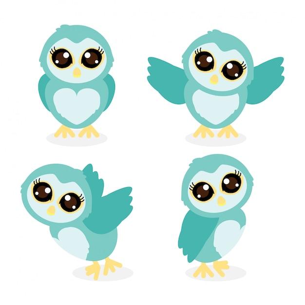 Cute owlt cartoon doodle vector sammlungssatz Premium Vektoren