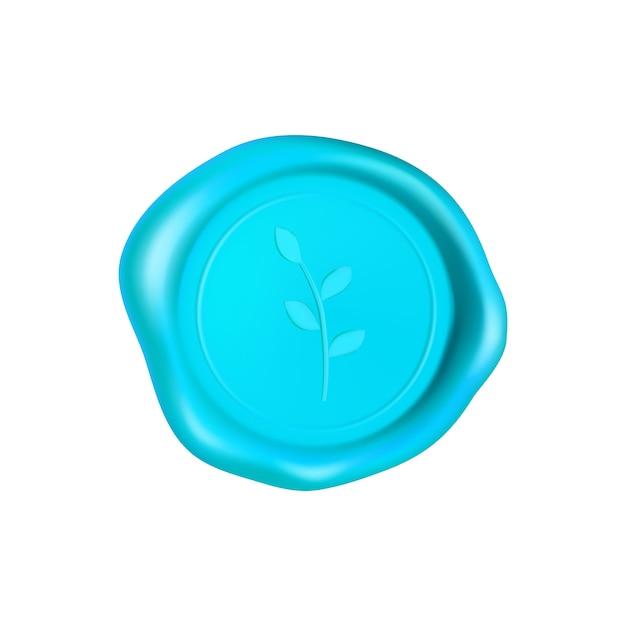 Cyan wachssiegel mit zweig. wachssiegelstempel lokalisiert auf weißem hintergrund. realistisch garantierter blauer stempel. realistische 3d-illustration. Premium Vektoren