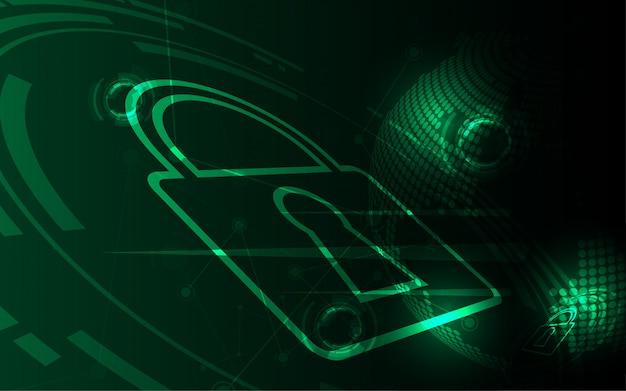 Cyber-digital-konzept der sicherheit abstrakter technologiehintergrund schützt systeminnovation Premium Vektoren