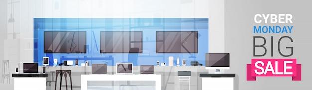 Cyber monday big sale banner über modernem technologiespeicher, einkaufsrabatt-ereignis-konzept Premium Vektoren