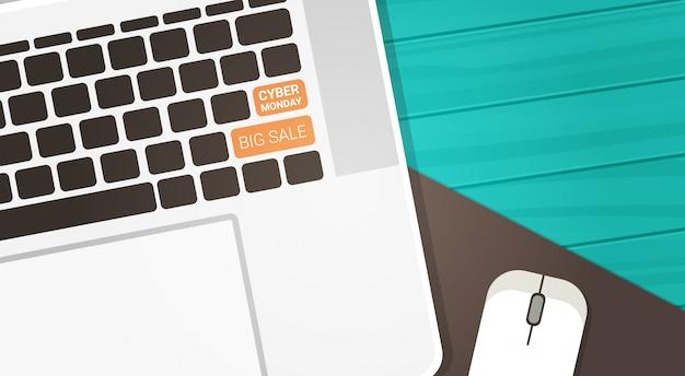 Cyber monday big sale-knopf auf computertastatur und maus auf hölzernem hintergrund, technologie-einkaufsrabatt-konzept Premium Vektoren