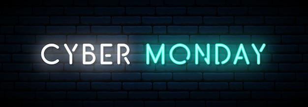 Cyber monday neon banner. Premium Vektoren