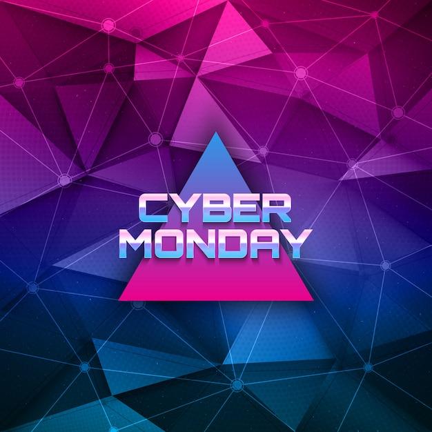 Cyber monday retrowave zusammenfassung hintergrund Premium Vektoren