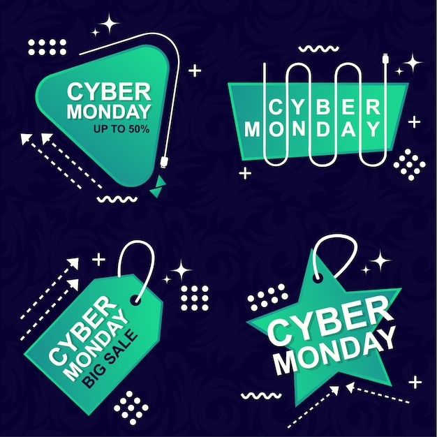 Cyber monday sale banner set elements premium vector pack Premium Vektoren